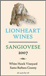 2007 White Hawk Vineyard, Sangiovese, Santa Barbara